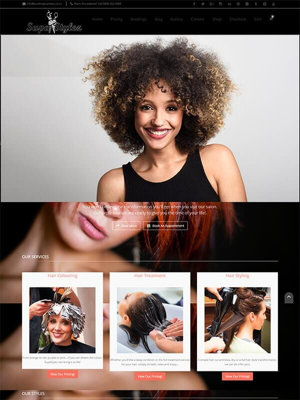 hair salon website for sale